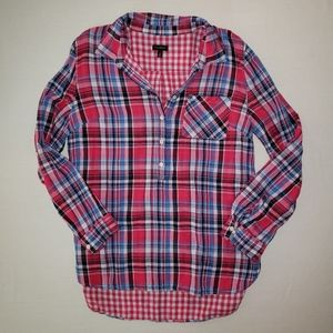 Talbots plaid top